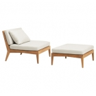 Sectional Lounge Chair and Ottoman - Loose Cushions and Pillow
