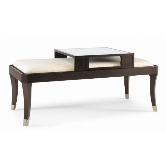 Black Coffee Table Sheffield: Century Upholstered Top Cocktail Table W/ Sliding Serving Tray