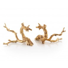 Set of Two Just Twigs in Gold Leaf