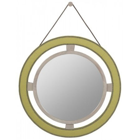 Robineau Road Upholstered Round Mirror