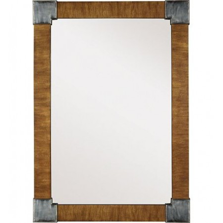 Fennell Mirror with Clear Mirror - Mahogany