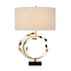 Swirling Agates in Brown and Brass Table Lamp
