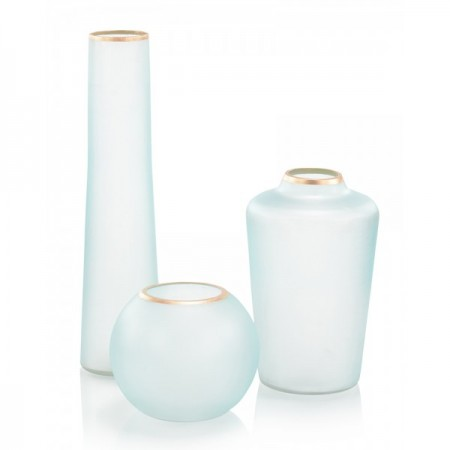 Set of Three Whisper Blue Glass Vases