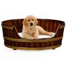 Medium Walnut Wooden Dog Bed