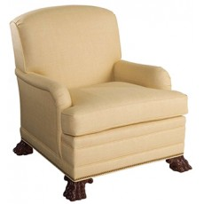 Saddle-Arm Club Chair with Hairy Paw Feet