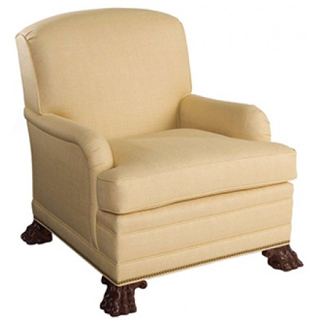 Saddle-Arm Club Chair with Hairy Paw Feet