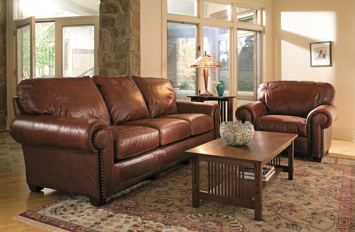 Living room leather furniture for Leather couch family room